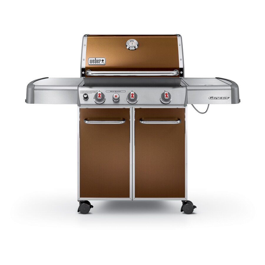 Weber Genesis E-330 Copper 3-Burner (38,000-BTU) Liquid Propane Gas Grill with Side Burner