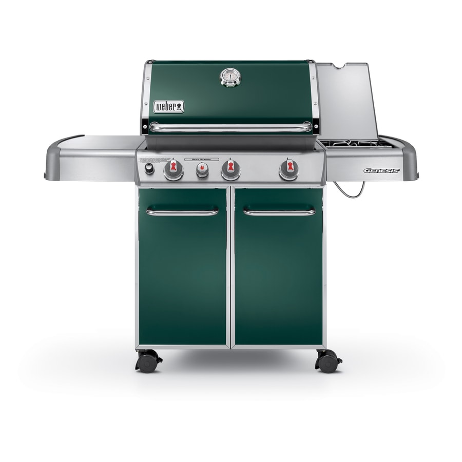 Weber Genesis E-330 Green 3-Burner (38,000-BTU) Liquid Propane Gas Grill with Side Burner