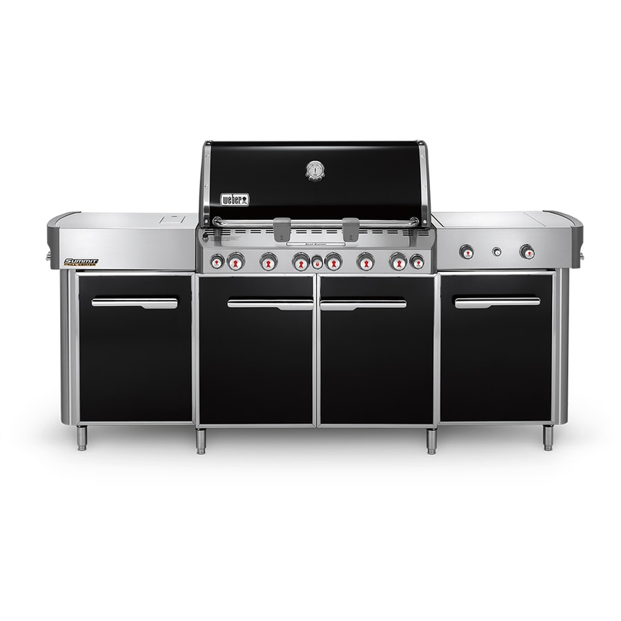 Weber Summit Black 6-Burner Natural Infrared Gas Grill with 2 Side Burners, Rotisserie Burner and Integrated Smoker Box