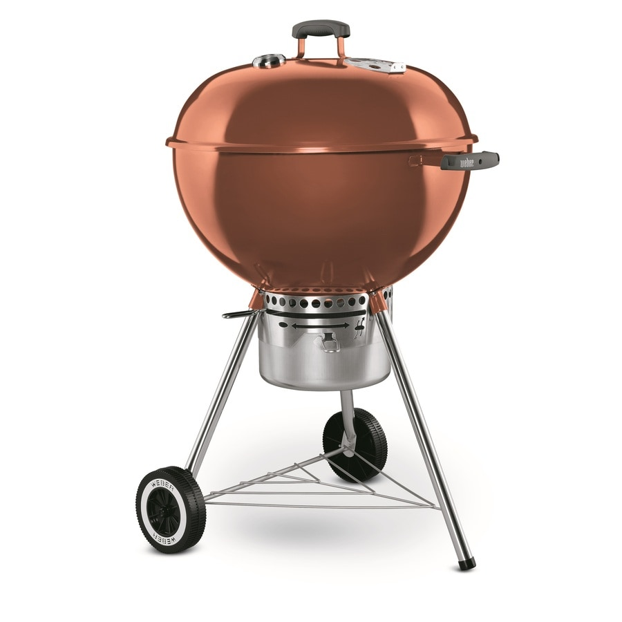 shop weber one touch gold 22 5 in copper porcelain enameled kettle charcoal grill at. Black Bedroom Furniture Sets. Home Design Ideas