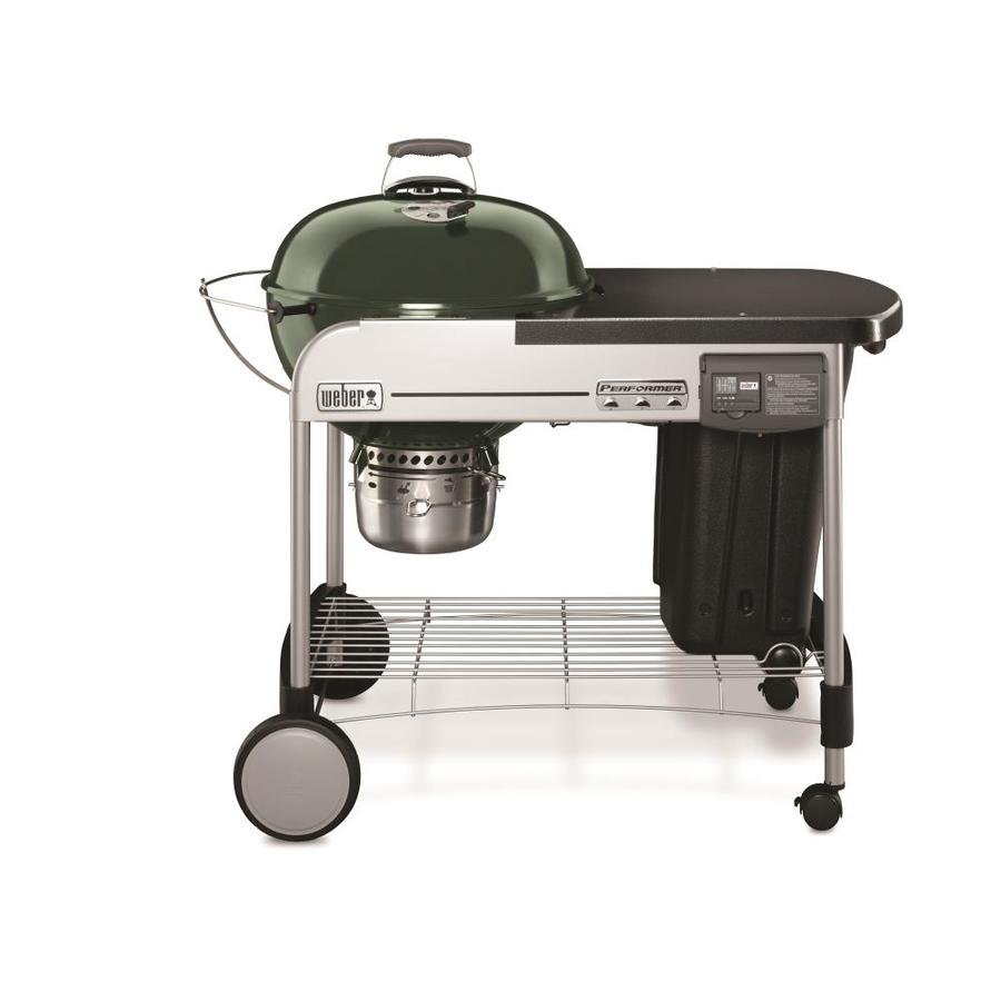 Weber Performer Deluxe 22-in Green Porcelain Enamel Kettle Charcoal Grill