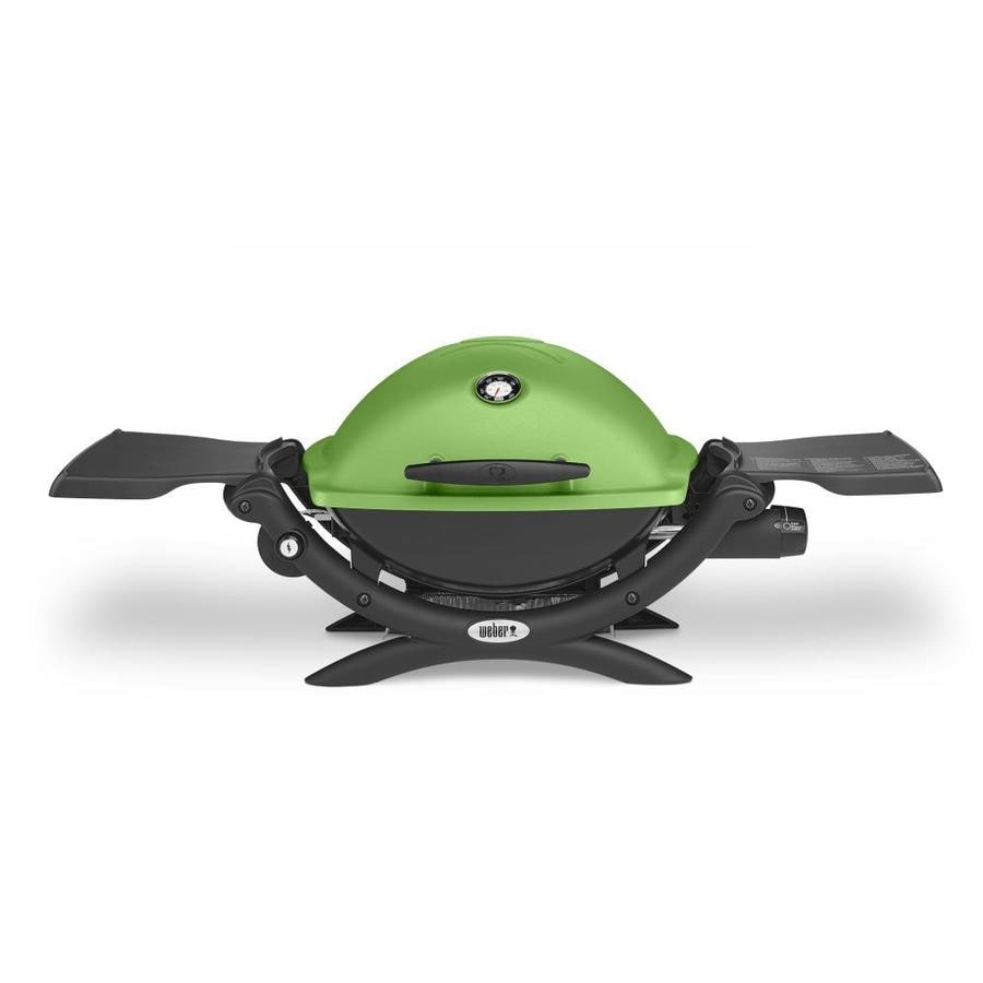 Weber Q 1200 Green Cast Aluminum 8,500-BTU 189-sq in Portable Gas Grill