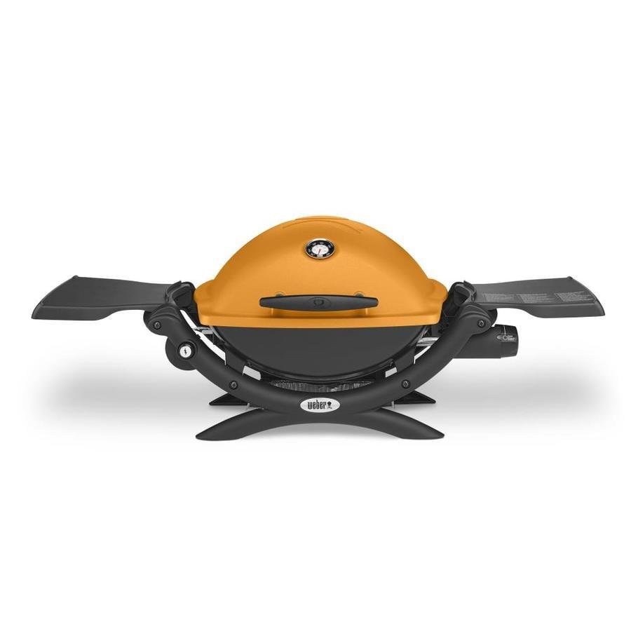 Weber Q 1200 Orange Cast Aluminum 8500--BTU 189 Sq.-in Portable Gas Grill