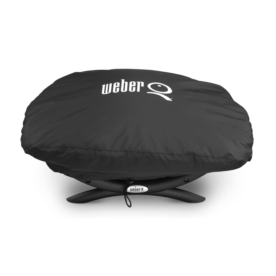 Weber 17.3-in x 26.3-in Black Polyester Gas Grill Cover