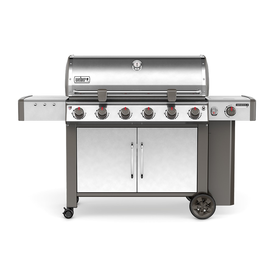 Weber Genesis II LX S-640 Stainless Steel 6-Burner Liquid Propane Gas Grill with 1 Side Burner
