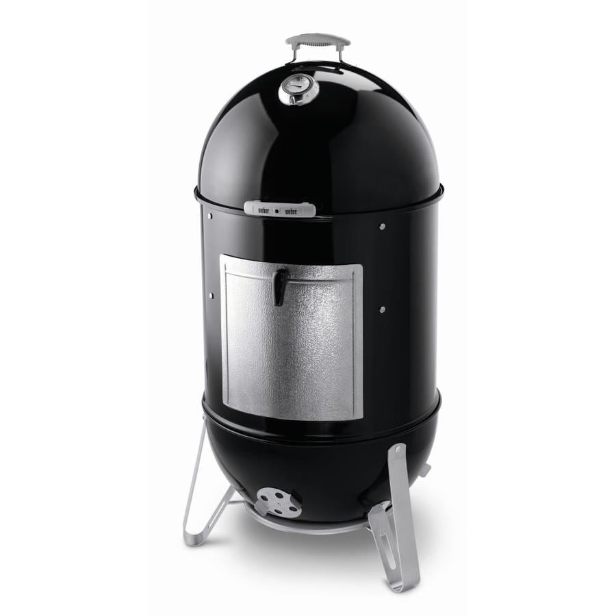 Weber 22-in Smokey Mountain Cooker 48.5-in H x 23-in W 726-sq in Black porcelain-enameled Charcoal Vertical Smoker 731001