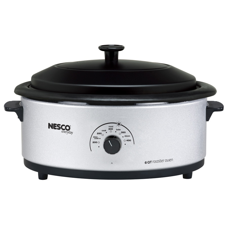 Nesco 6-Quart Stainless Steel Oval Porcelain Roaster Oven with Metal Lid