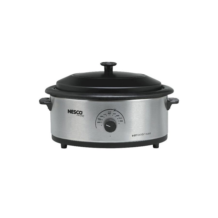 Nesco 6-Quart Silver Oval Steel Roaster Oven with Metal Lid
