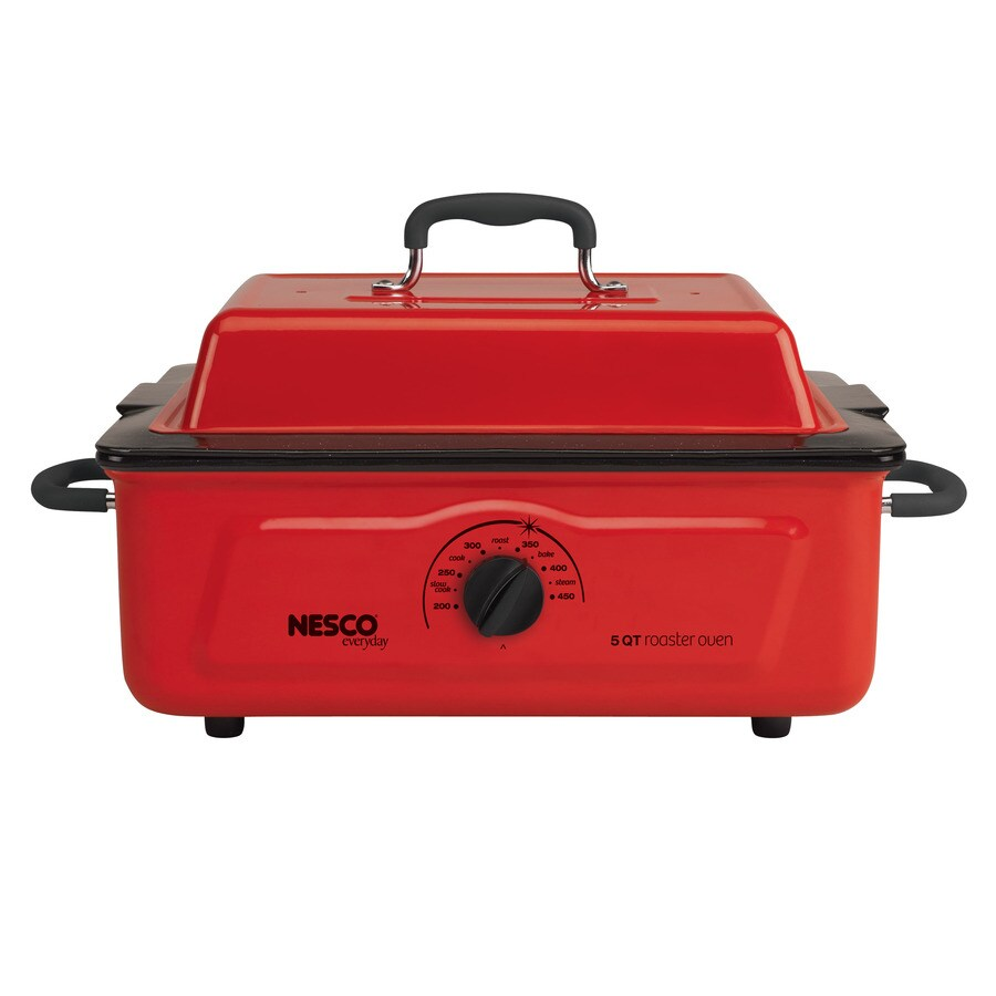 Nesco 5-Quart Red Rectangle Porcelain Roaster Oven with Metal Lid