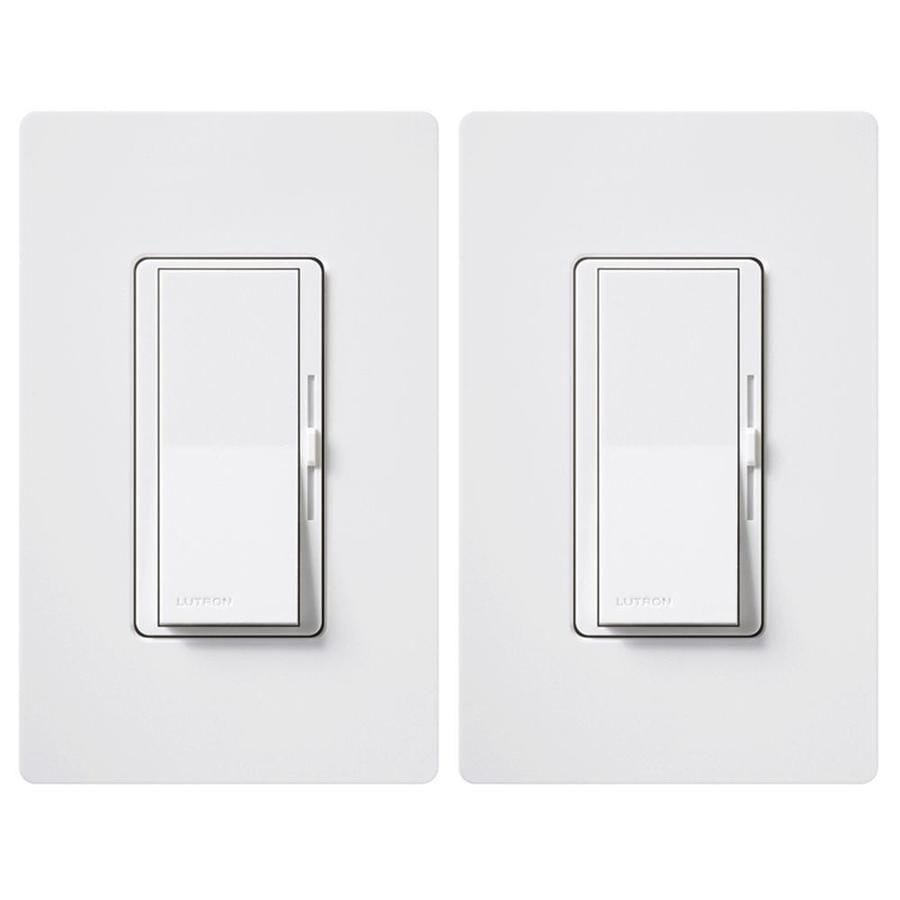 Shop Lutron Diva 150 Watt Single Pole 3 Way White Compatible With Below Is A Dimmer Switch Controlling Flourescent Light Led Lighting Guide