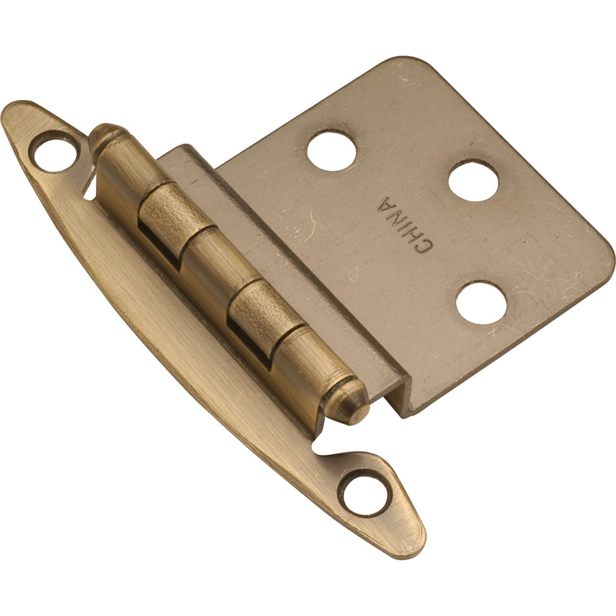 Hickory Hardware 2-Pack 2-3/4-in x 2-1/8-in Antique Brass Flush Cabinet Hinges