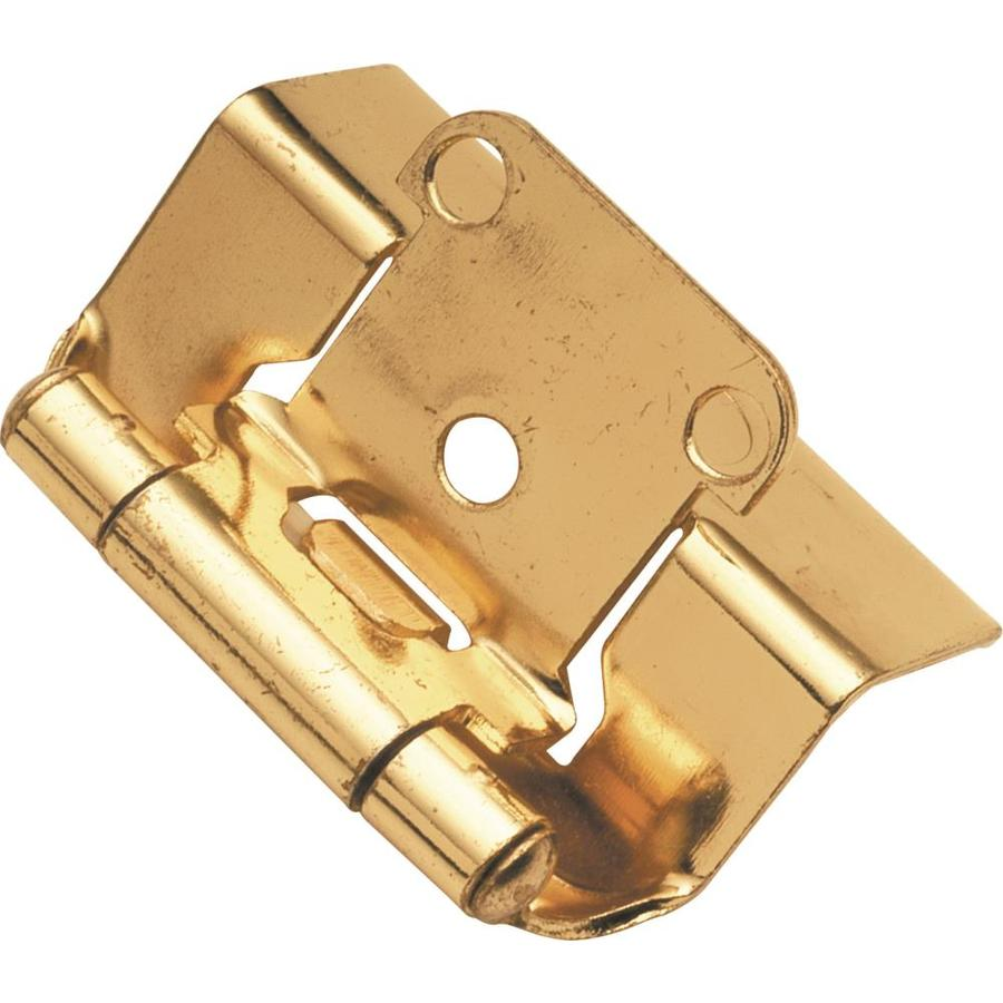 Hickory Hardware 2-Pack 2-1/4-in x 1-3/8-in Polished Brass Concealed Self-Closing Cabinet Hinges