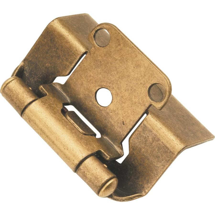 Hickory Hardware 2-Pack 2-1/4-in x 1-3/8-in Antique Brass Concealed Self-Closing Cabinet Hinges