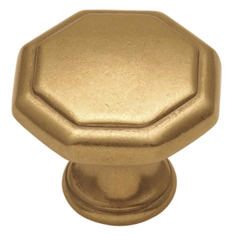 Hickory Hardware Conquest Lustre Brass Octangular Cabinet Knob