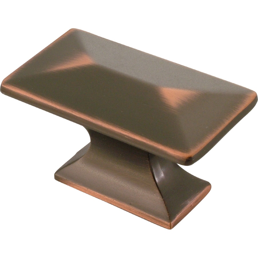 hickory hardware bungalow oilrubbed bronze highlighted rectangular cabinet knob