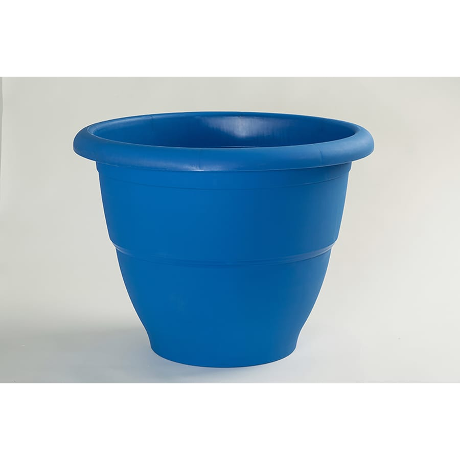 Garden Treasures 20.5-in x 15-in Blue Plastic Round Planter