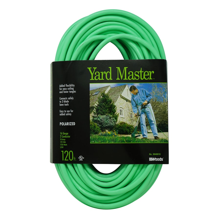 Woods 120 Ft 10 Amp 16 Gauge Lime Green Outdoor Extension Cord