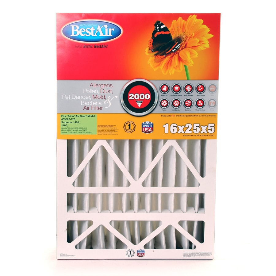 BestAir (Common: 25-in x 16-in x 5-in; Actual: 24.125-in x 15.625-in x 4.875-in) Furnace Filter Pleated Air Filter