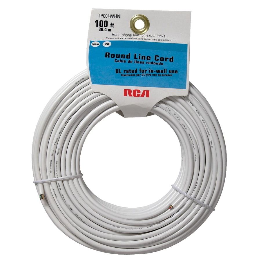 shop rca 100 4 wire line cord white at lowes