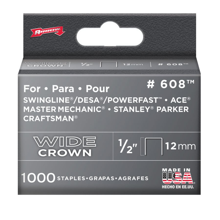 Arrow 1,000-Count 0.5-in No 600 Heavy-Duty Crown Staples