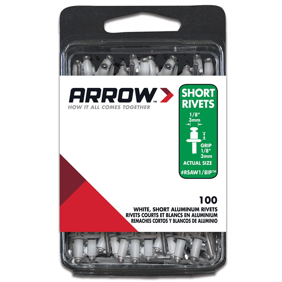 Arrow Fastener 100-Pack 1/8-in White Aluminum Rivets