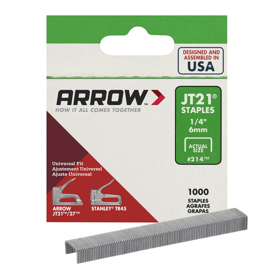 Arrow 1,000-Count 0.25-in Wide-Crown Staples