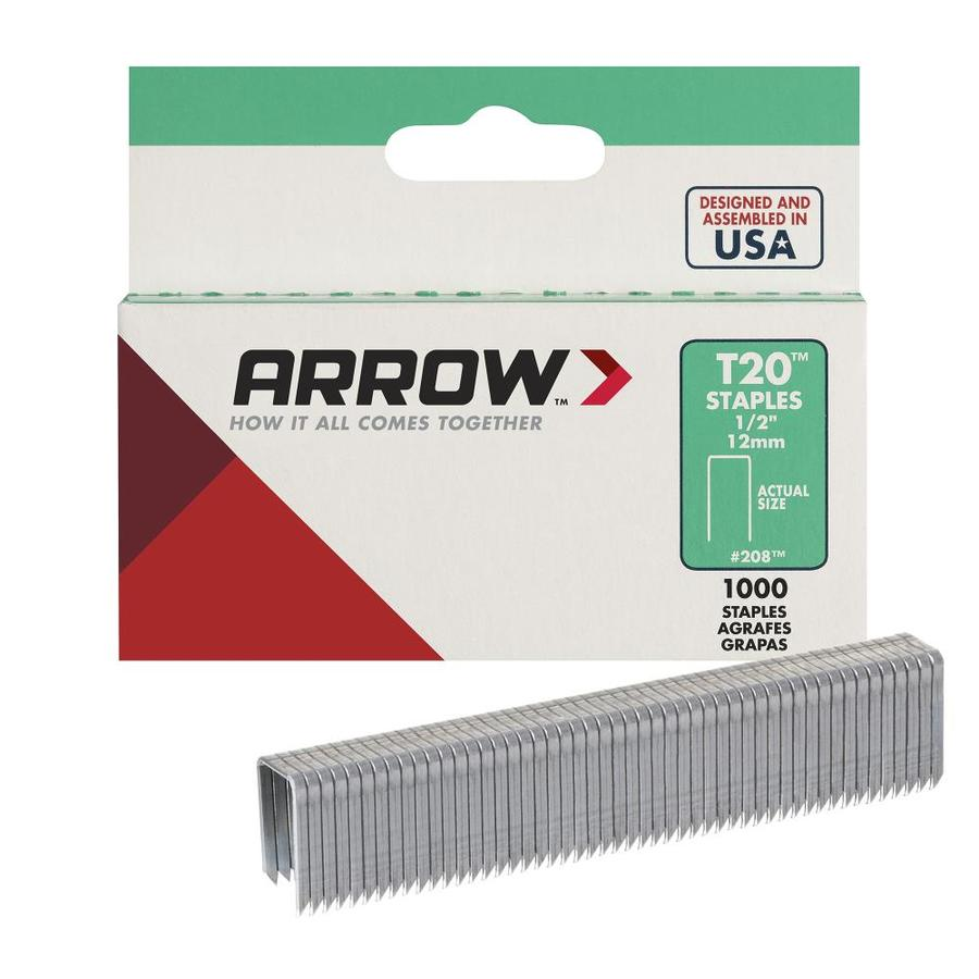 "Arrow Fastener No. 208, 1/2"" Flat Crown Staples"