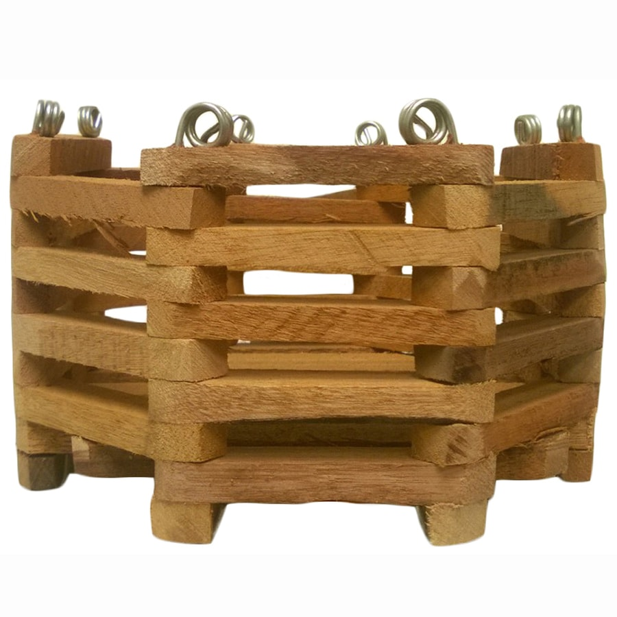 BETTER-GRO 10-in x 6.25-in Natural Wood Hanging Basket