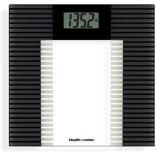 Health O Meter 400 Lbs Digital Clear Glass Black Accents