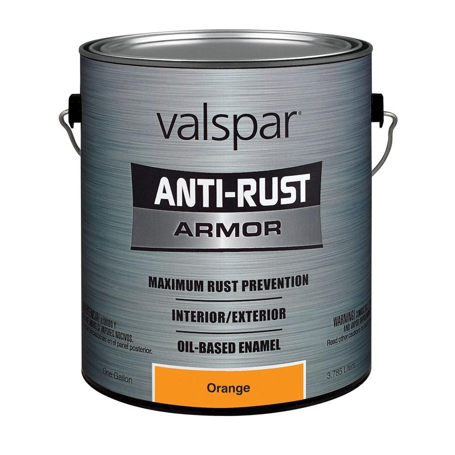 Shop Valspar 1 Gallon Interior Exterior Gloss Orange Oil Base Paint At