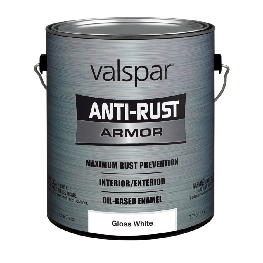 Valspar Anti-Rust Armor White Gloss Oil-Based Enamel Interior/Exterior Paint (Actual Net Contents: 128-fl oz)
