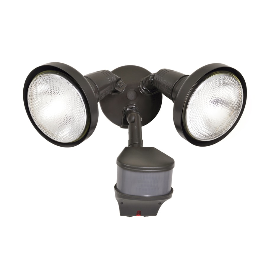 All-Pro 270-Degree 2-Head Bronze Halogen Motion-Activated Flood Light with Timer