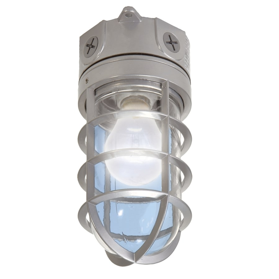 Utilitech 4.12-in W Gray Outdoor Flush-mount Light
