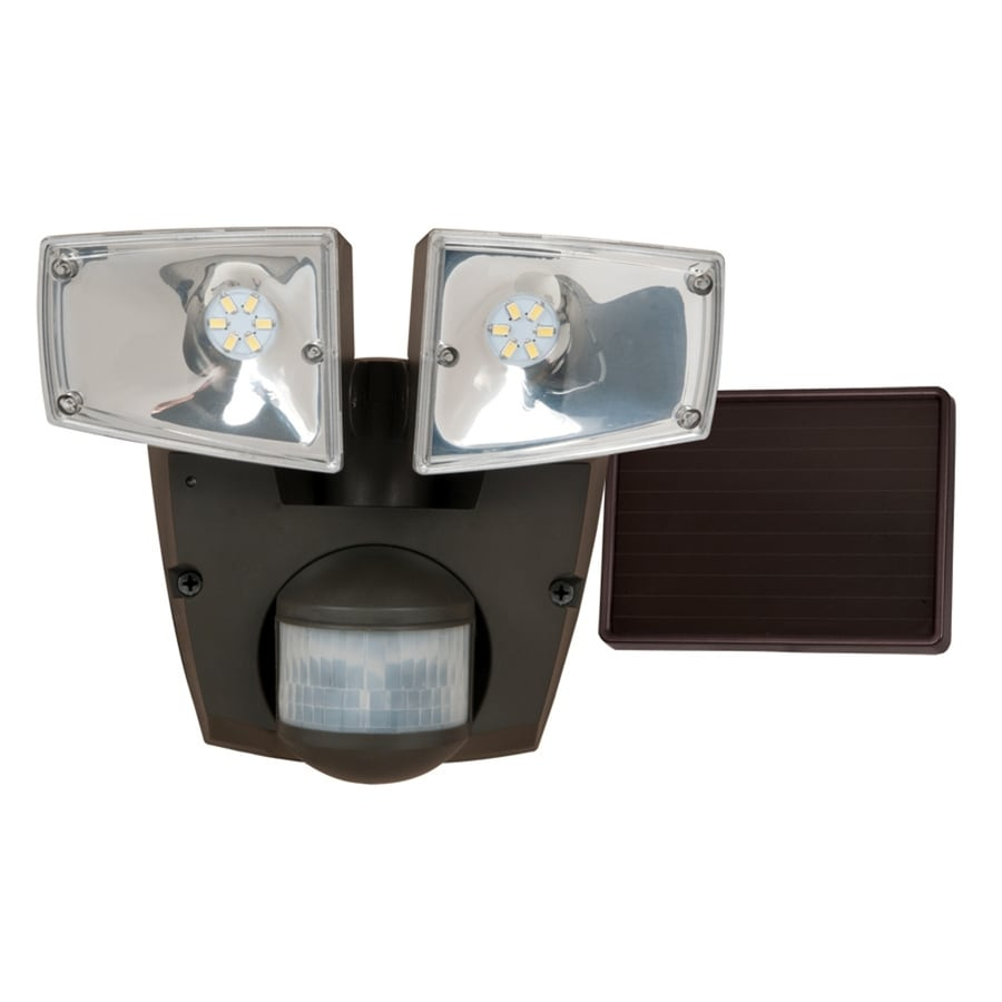 Utilitech Pro 180-Degree 2-Head Black Solar Powered LED Motion-Activated Flood Light with Timer