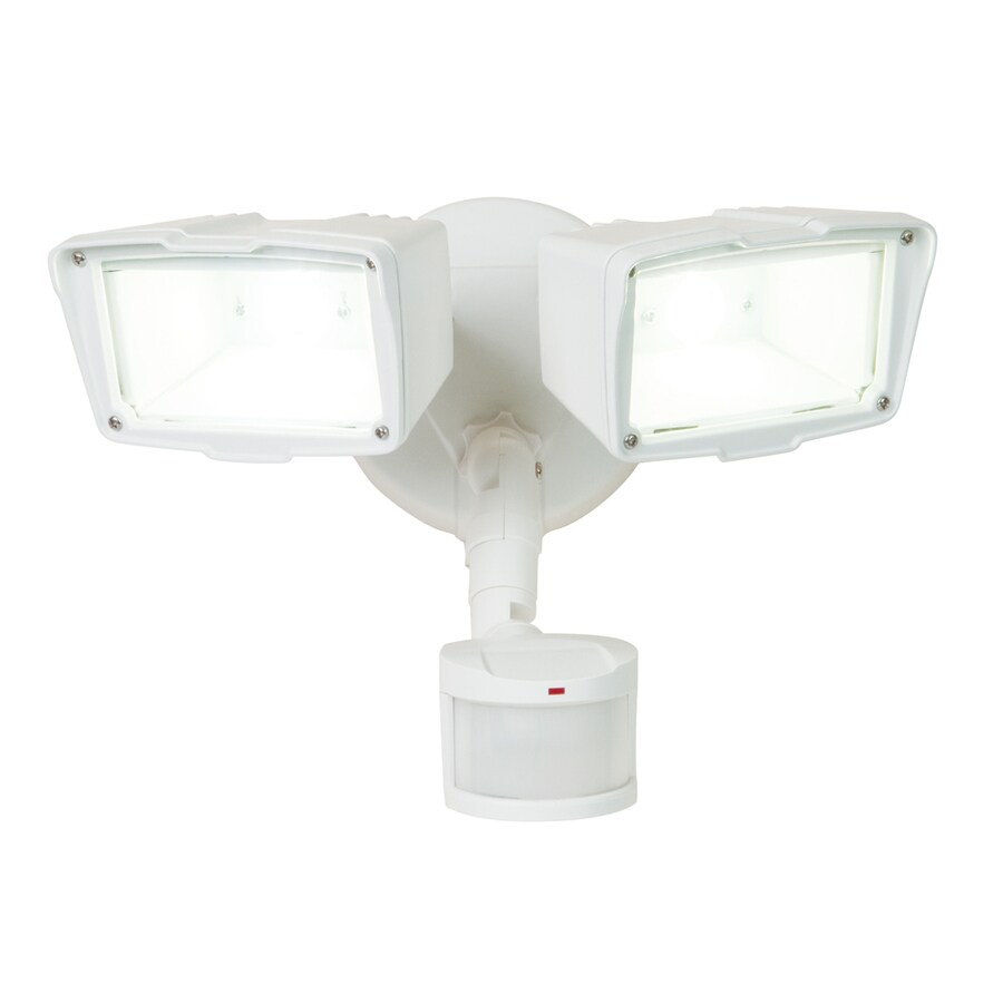 Utilitech Pro 180-Degree 2-Head White LED Motion-Activated Flood Light with Timer