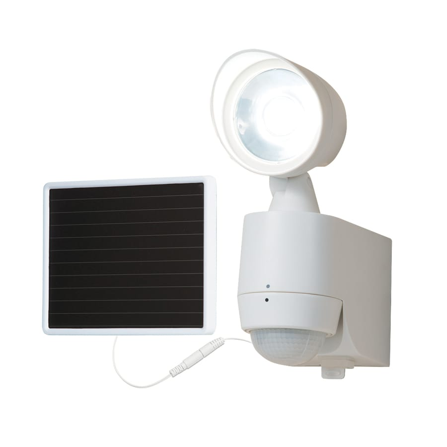 All-Pro Led Motion 180-Degree 1-Head White Solar Powered Integrated LED Motion-Activated Flood Light with Timer