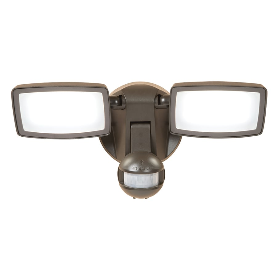 All-Pro 180-Degree 2-Head Bronze Integrated LED Motion-Activated Flood Light with Timer