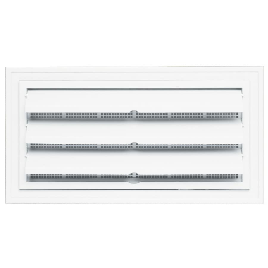 "Builders Edge 9.5"" x 18.5"" White Vinyl Foundation Vent with Ring"