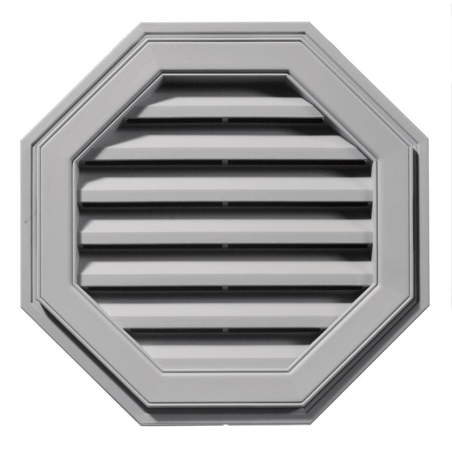 Builders Edge 8-in x 7-in Gray Octagon Vinyl Gable Vent
