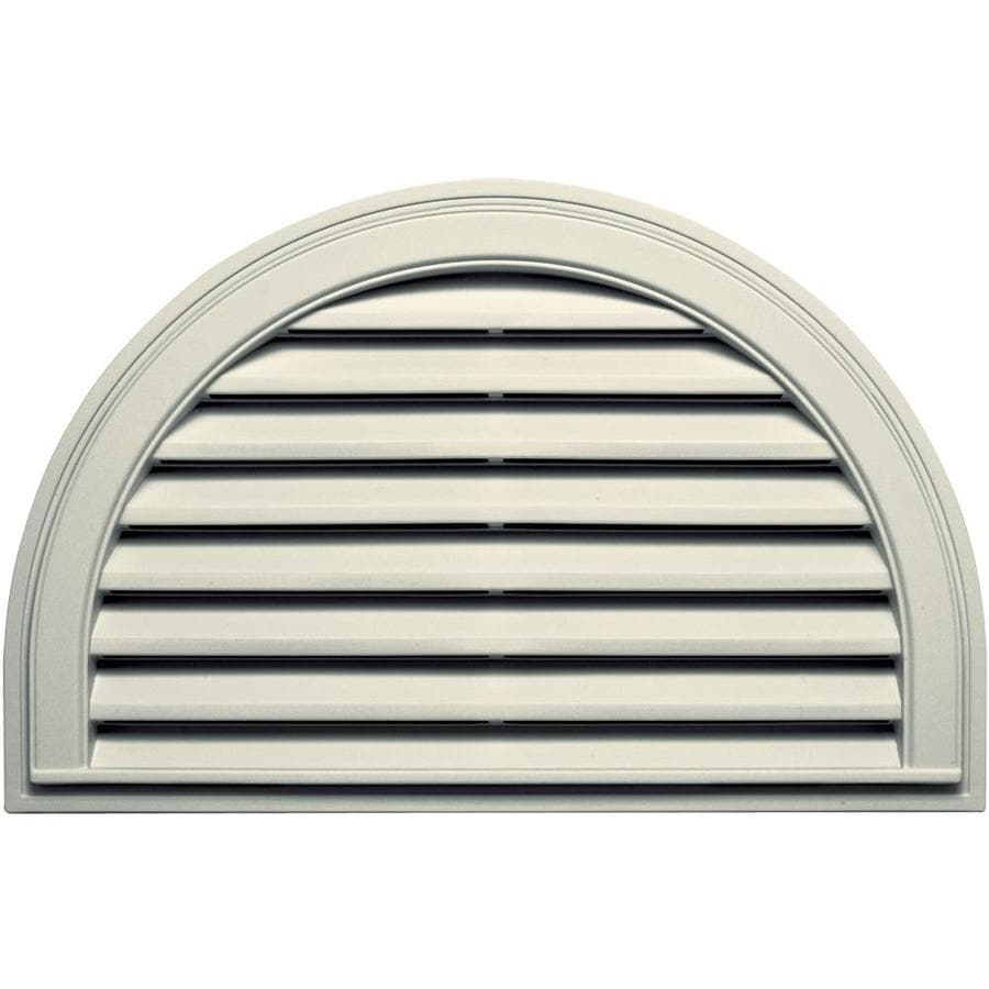Builders Edge 34.2-in x 22.1-in Linen Half Round Vinyl Gable Vent