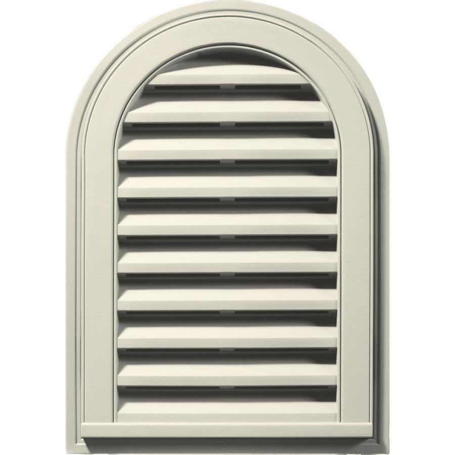 Builders Edge 16-in x 24-in Linen Round Top Vinyl Gable Vent