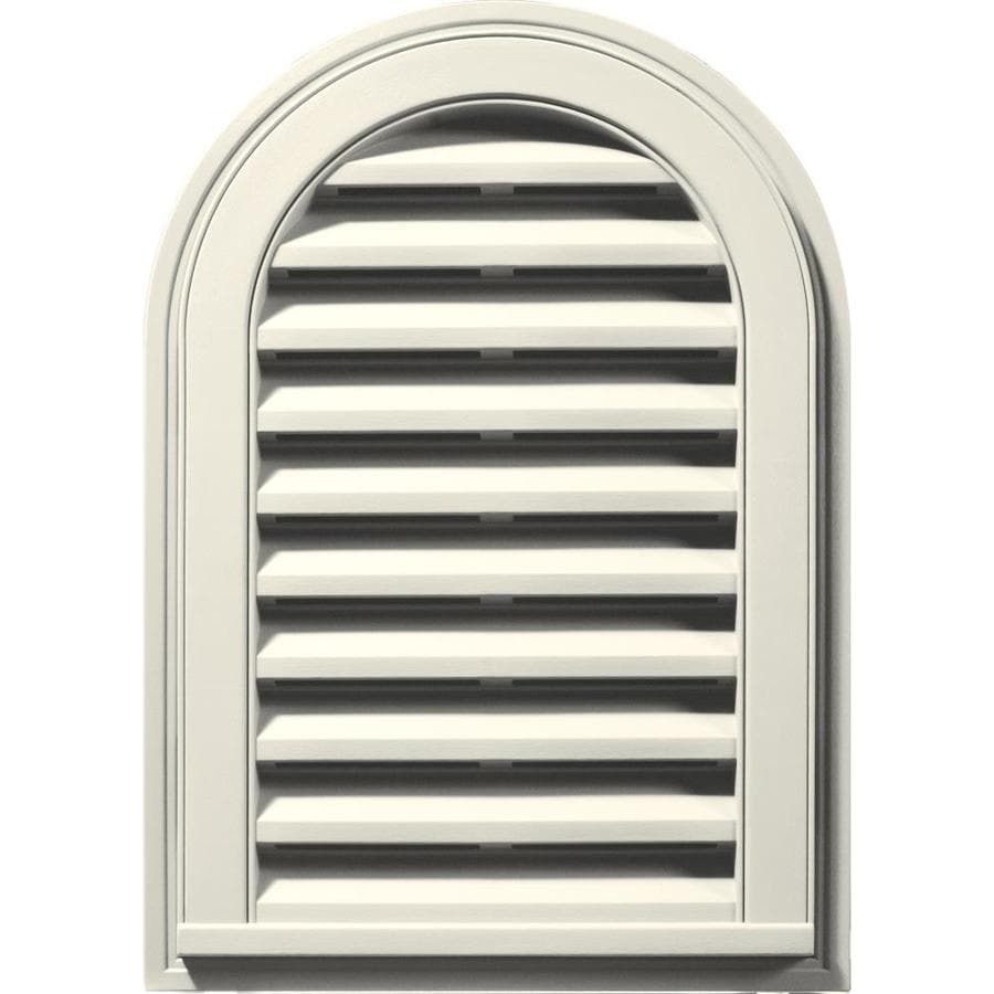 Builders Edge 16-in x 24-in Parchment Round Top Vinyl Gable Vent