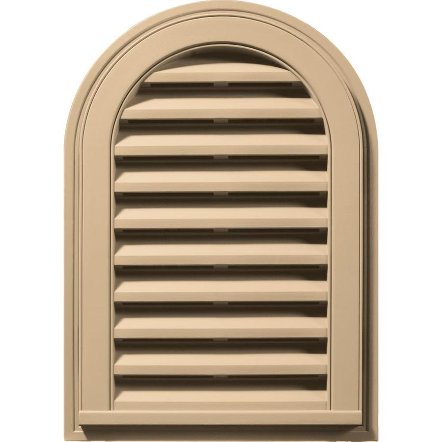 Builders Edge 16-in x 24-in Sandstone Maple Round Top Vinyl Gable Vent