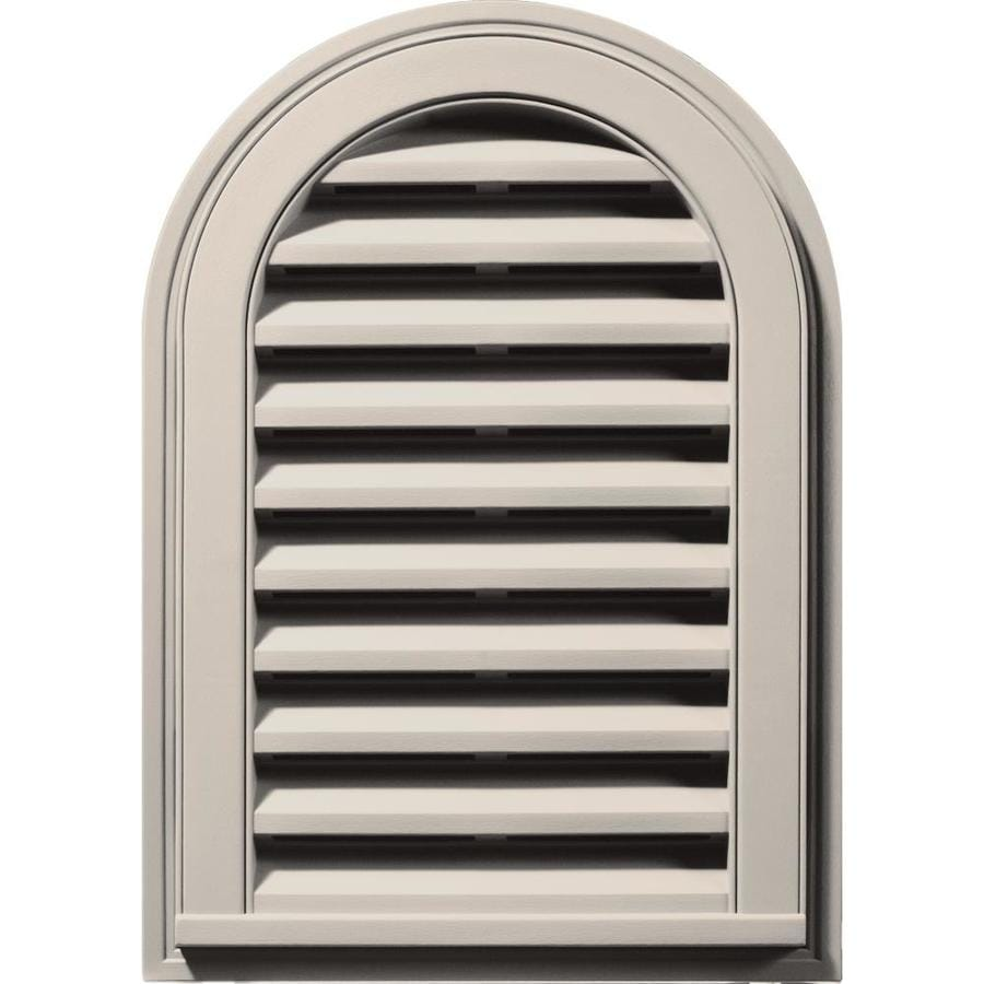 Builders Edge 16-in x 24-in Almond Round Top Vinyl Gable Vent