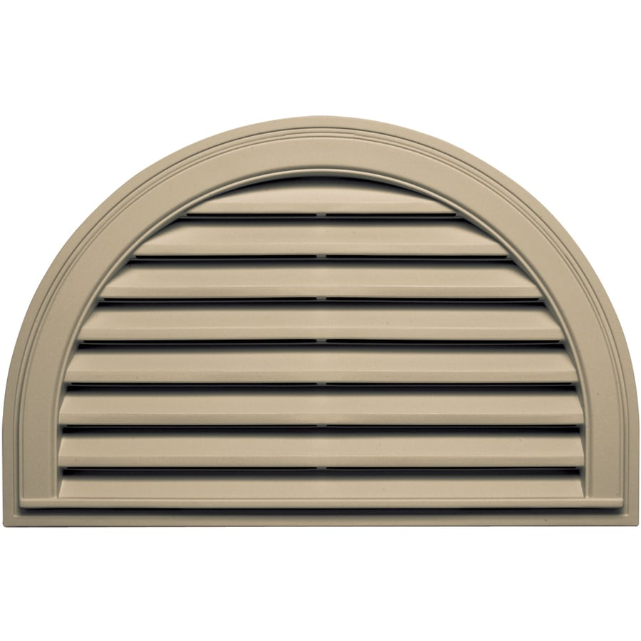 Builders Edge 34.25-in x 22.1-in Light Almond Half Round Vinyl Gable Vent