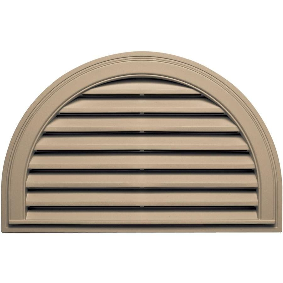 Builders Edge 34.2-in x 22.1-in Tan Half Round Vinyl Gable Vent