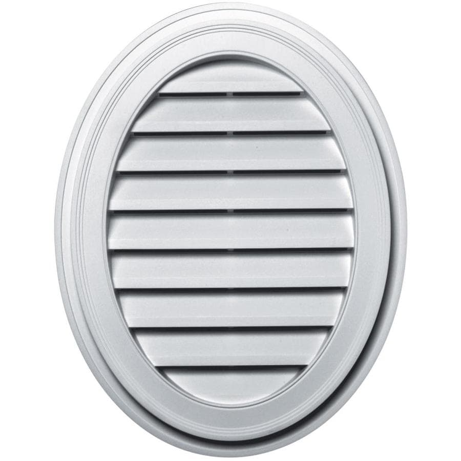 Builders Edge 21-in x 27-in White Oval Vinyl Gable Vent