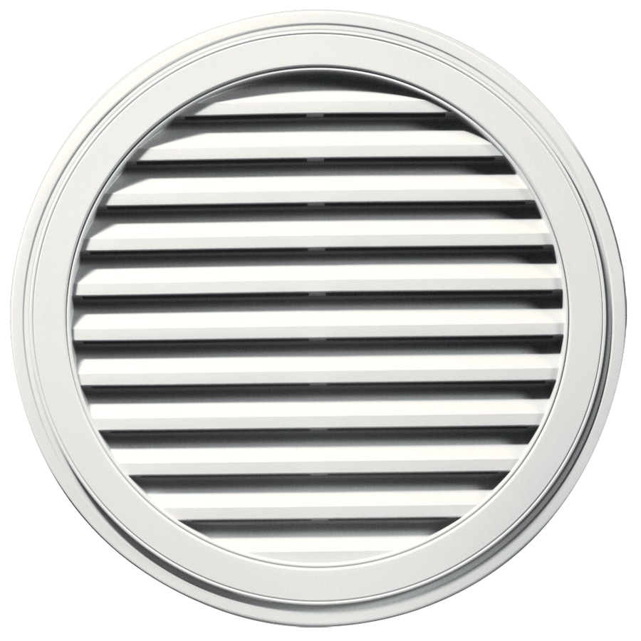Builders Edge 24-in x 16-in White Round Vinyl Gable Vent