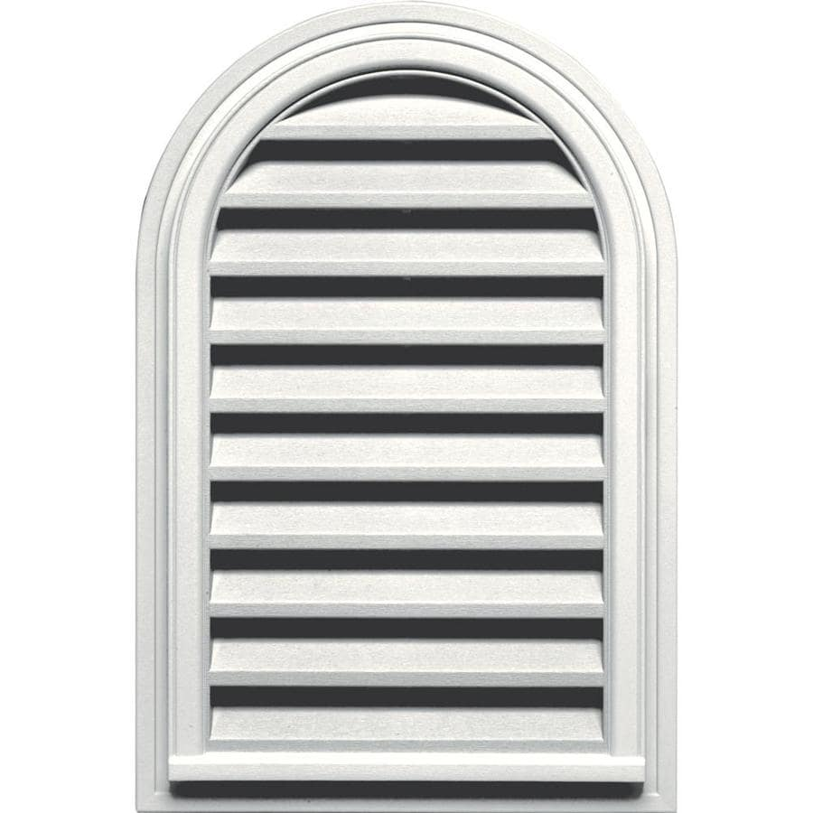Builders Edge 22-in x 32-in White Round Top Vinyl Gable Vent