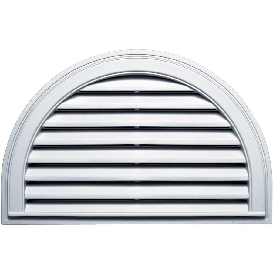 Builders Edge 10-in x 10-in White Half Round Vinyl Gable Vent